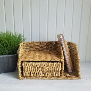 Wicker Basket Desk Organizer